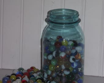 Vintage Mason quart size jar, filled with colorful marbles !!!