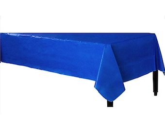 Strong Reusable 52in wide x 90 Inch Long Flannel-Backed Vinyl Table Cover In Royal Blue - Birthday - Tea Party - Wedding - All Occasion