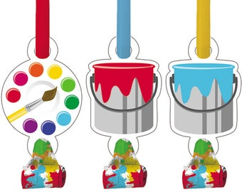 8 Ct Colorful Art - Painting Theme Party Blowouts - Fun Kids Party Favors