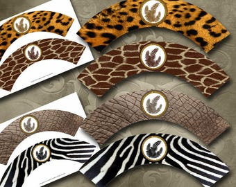 Animal Print Cupcake Wrappers Instant Download Printable Cupcake Wrappers