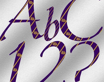 Purple and Gold Alphabet - Instant Download - Digital Letters and Numbers