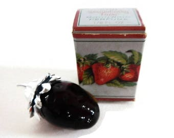Vintage Avon Strawberry Fair - Moonwind Perfume - glass, plastic, 1970s, red, silver - fruit, decanter, cologne, in box, collectible, decor