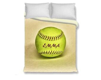 Custom Duvet Cover-Softball with Name Duvet Cover-Sports Duvet Cover-Sports Bedroom Decor-Girls Bedding-Twin/Full/Queen/King Duvet Cover