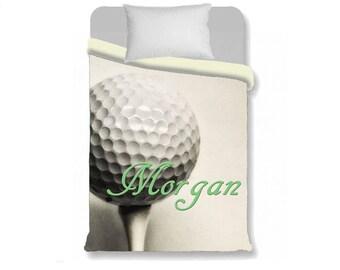 Golf Duvet Cover-Golf Ball with Name Duvet Cover-Sports Duvet Cover-Sports Bedroom-Girls Bedding-Boys Bedding-Personalized Duvet