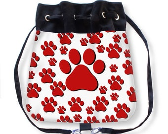 Paw Print Cinch Sack-Customized Cheer Bag-Cheerleader Backpack-Tiger Paw Purse-Drawstring Purse-Crossbody Bag-Messenger Bag-Backpack