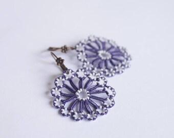 Lace dangle earrings, delicate round lace jewellery handmade purple blue earrings beaded earrings OEKO TEX thread eco-friendly jewelery