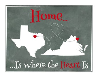 Home is Where the Heart is Gift Print, Personalized Gift for Friend, Personalized Family Gift, Map Art, Moving Away Gift, Any Two Places