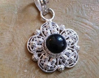 Holiday SALE 85 % OFF Onyx Pendant  Gemstones  . 925 Sterling Silver Christmas SALE