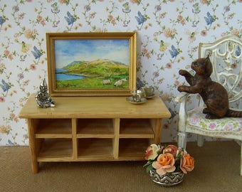 Original dollhouse watercolour painting. The Scottish Highlands. 1/12 scale. By artist Pauline Whiteley. Miniature Painting. Dollhouse art.