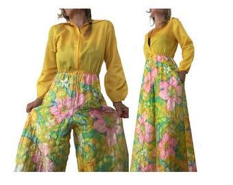 1980s DISCO neon Floral Flares JUMPSUIT // size eu 38-uk10-us6