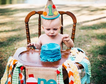 FISHING Birthday High Chair Highchair Banner Party Cake Smash Camping Hunting Woodland Fish Blue Green Orange Red Fabric First One Custom