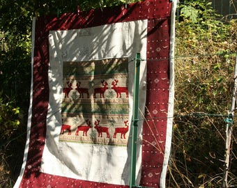 Plaid, quilting, patchwork fabrics mountain - reindeer pattern