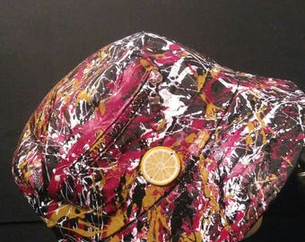 Hand painted wearable abstract art, Inspired by The Stone Roses and Jackson Pollock Bucket hat size 58cm Created in Manchester