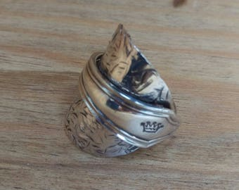 Vintage Sterling Silver - Spoon Ring - Jewellery - Size S 1/2 (UK)