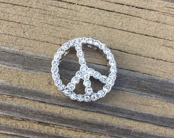 Peace Sign Slide Pendant Sterling Silver and Rhodium Plated White Sparkly Cz