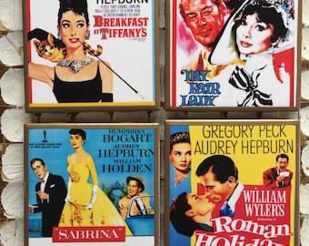 COASTERS! Audrey Hepburn movie coasters with gold trim