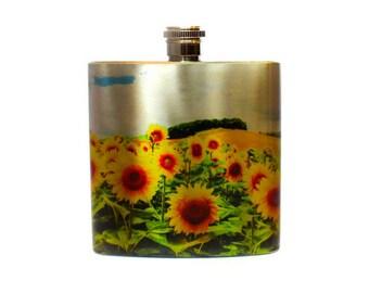 Gift For Girlfriend Sunflower Stainless Steel Flask / Bridesmaid Flask / California Sunflower Gift / Flask for Women
