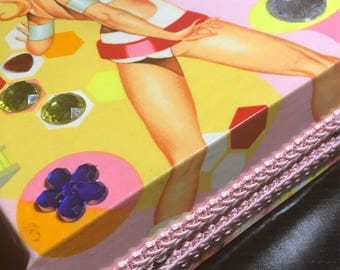 RERSERVED for Boni/Vintage Cigar Box Purse, pink, space, jeweled, pin up ladies, beaded handle, retro seventies coolness!