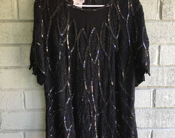 1980s 90s Black Beaded Sequined Silk Coctail Evening Blouse Top / Zipper Back Scalloped Petal Hem Plus Size 2XL - XXL - Free Size