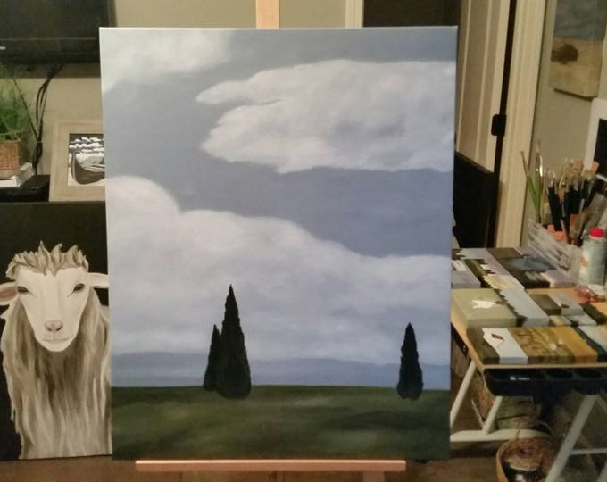 Among The Cypress - Oil Painting