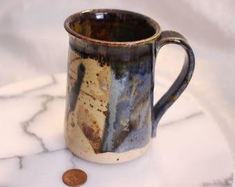 Beautiful Handmade Hand Thrown Mug Signed Mangum '84 Blue and Brown Design