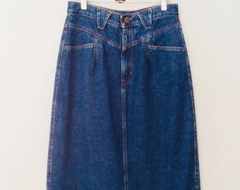 1980s Chic Denim Midi Skirt