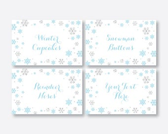 Instant Download, Editable Winter Wonderland Food Labels, Winter Onederland Food Tags, Buffet Card, Table Tents, First Birthday, Boy(GKB.04)