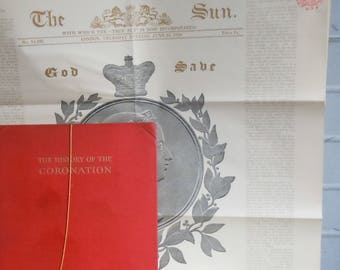 The History of the Coronation  / Lawernce Tanner / Poster of Queen Victoria from the Sun 1834 / Found Inside