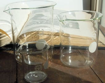 Science Glass / 3 Vintage Beakers from the 1940's / Pyrex Laboratory Glass / Great Scientific Decor and Style