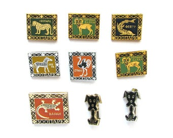 Animals, Soviet badges, Pick from set, Leopard, Ostrich, Dog, Fauna, Vintage collectible badge, Soviet Vintage Pin, Soviet Union, USSR