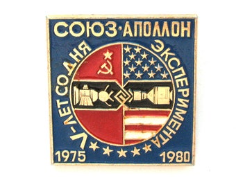 Space, Soyuz-Apollo 1975, 1980, 5 years, Cosmos,  badge, Soviet Vintage metal collectible pin, Made in USSR, 1980s, 80s