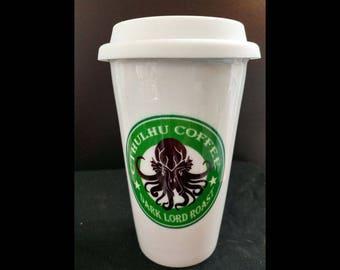 Cthulhu Coffee Ceramic Travel Mug 10 ounce~Dark Decor