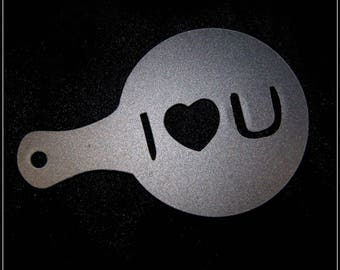 Stencil for decoration of cappuccino & coffee I LOVE YOU