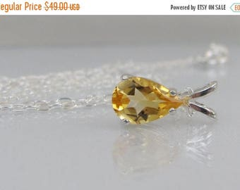 Citrine Pendant in Sterling Silver, Yellow Citrine Necklace, 9x6mm Citrine Pear Gemstone, November Birthstone Jewelry, Bride Necklace