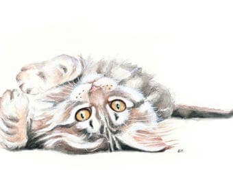 Maine Coon Kitten stretch Watercolor Gouache Painting