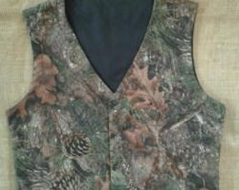 Boys & Men TrueTimber Mixed Pine Camo vest Great for weddings NB to size kids 10.Made with camo cotton fabric