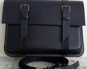 Black hand stitched leather satchel