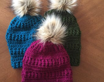 faux fur pom pom hat - Winter hat - womens hat