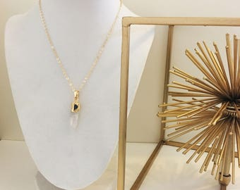 LIMITED EDITION Clear Crystal and Dark Grey Druzy Agate Geode Pendant Long Gold Necklace