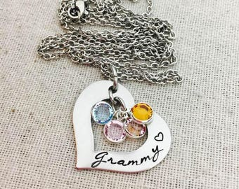 Personalized Grammy Birthstone Necklace- Hand Stamped-Grandchildren -Grandma Heart Necklace-Grandma Jewelry- Mother's Day- Gift Grandma