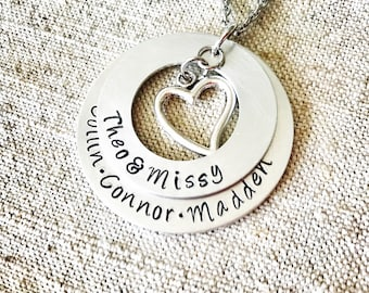 Family name necklace - layered family necklace - name necklace