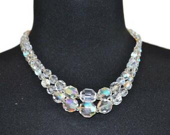 Vintage Aurora Borealis Necklace // 1950's Sparkly Crystal Necklace with Aurora Borealis Clasp/ // Graduated Bead Necklace