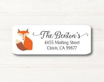 Fox, Return Address Label, Personalized, MATTE, Woodland, Custom Label