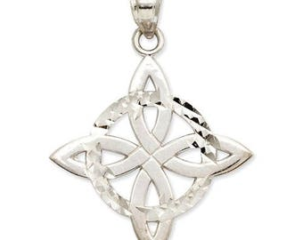 14K White Gold Celtic Trinity Knot Pendant Charm W0019