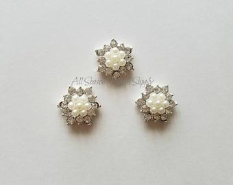 Flower Shape, Clear Crystal Rhinestone Buttons w/Beads, Rhinestone Button,  Acrylic Rhinestone, Hair/Garment Accessories, Flat Back, 18 mm