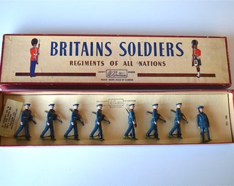 Boxed set of original vintage Britains U.S. Air Corps with Officer No.2044 Circa.1950-60 toy soldiers