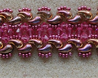 TALE OF 2 COMETS Bracelet Tutorial, Using Right and Left Zoliduo beads, Seed Beads, and 4mm Crystals. Pearls or Fire Polish.