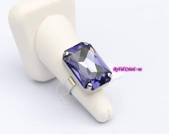 Rectangular cabochon Swarovski 'Tanzanite' Crystal ring