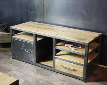 meuble tv banc bois massif et acier style industriel. Black Bedroom Furniture Sets. Home Design Ideas
