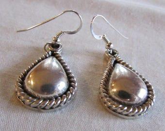 Teardrop Sterling Silver Dangle Wire Earrings